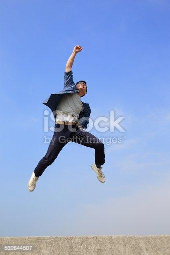istock Happy man run and jump 532644507