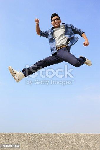 istock Happy man run and jump 538989209
