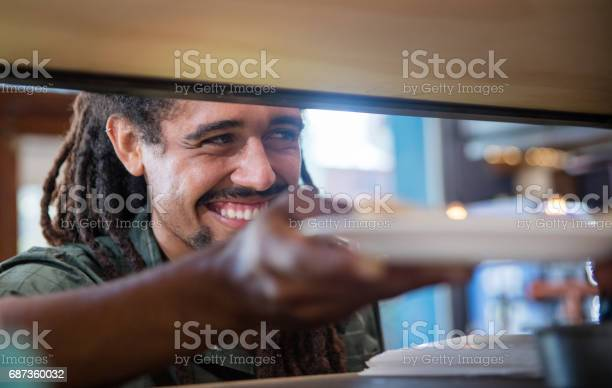 Happy man serving food at a restaurant picture id687360032?b=1&k=6&m=687360032&s=612x612&h=qrc3 zulsdnylvh8r2sbfqw3flykm5x o4fwzu1zvj4=