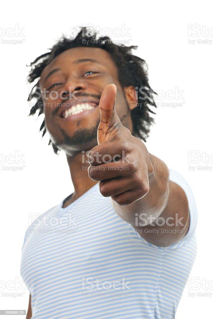 Happy man showing thumb up royalty-free stock photo