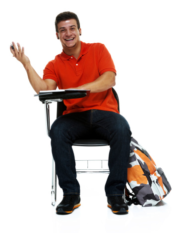 Happy man sitting on a writing chairhttp://www.twodozendesign.info/i/1.png