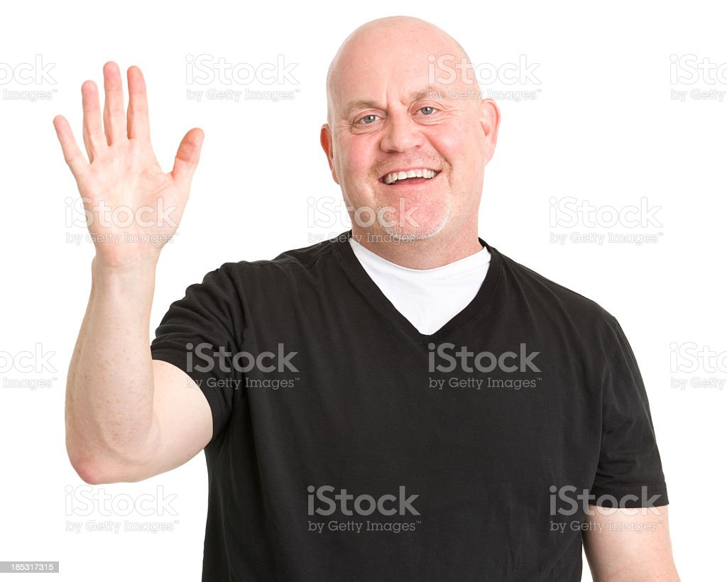 Happy Man Waves Hi stock photo