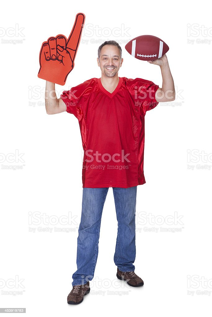 Happy Man Wearing Foam Finger royalty-free stock photo