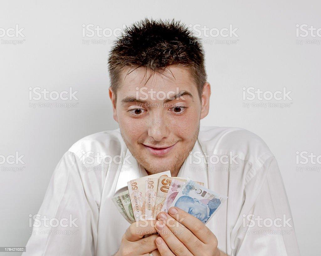 Happy Man Who Made Money royalty-free stock photo