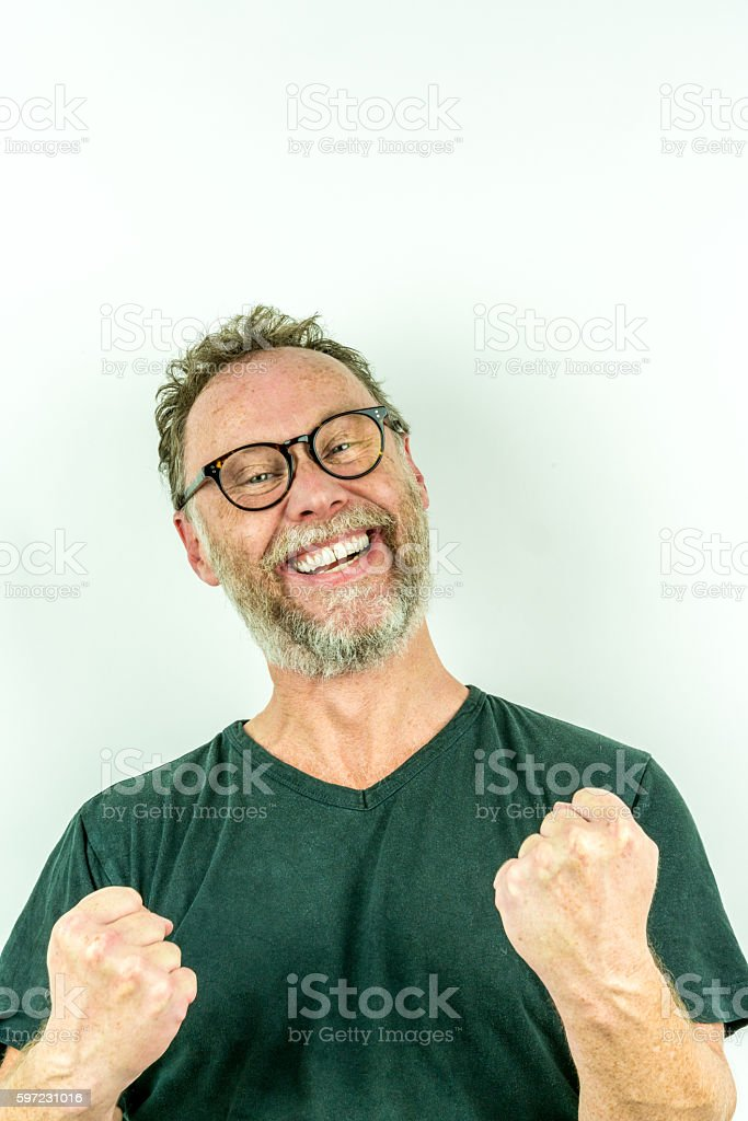Happy man with beard, winning smile. stock photo