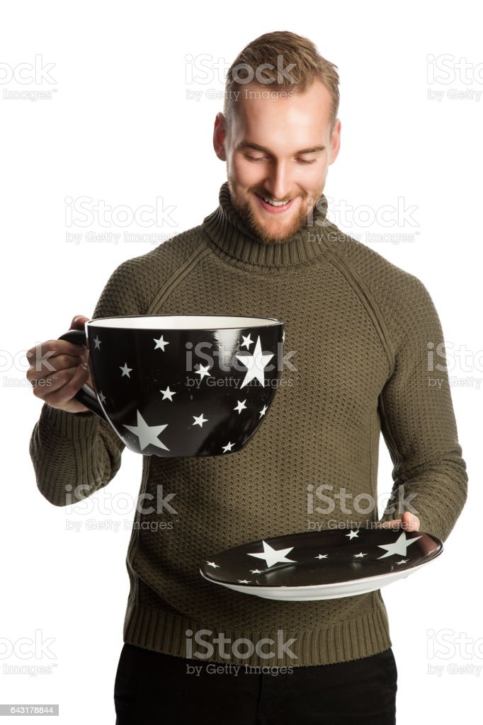 Happy man with big cup stock photo
