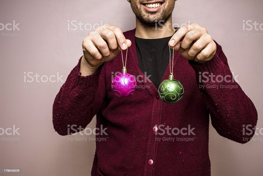 Happy man with christmas decorations royalty-free stock photo