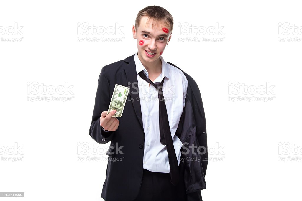 Happy man with dollars in kisses stock photo