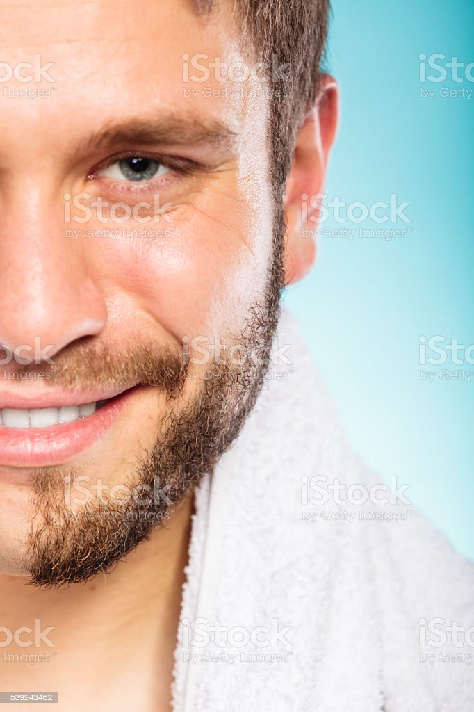 Happy man with face beard hair. stock photo