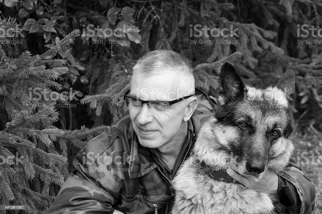 Happy Man With His Dog stock photo