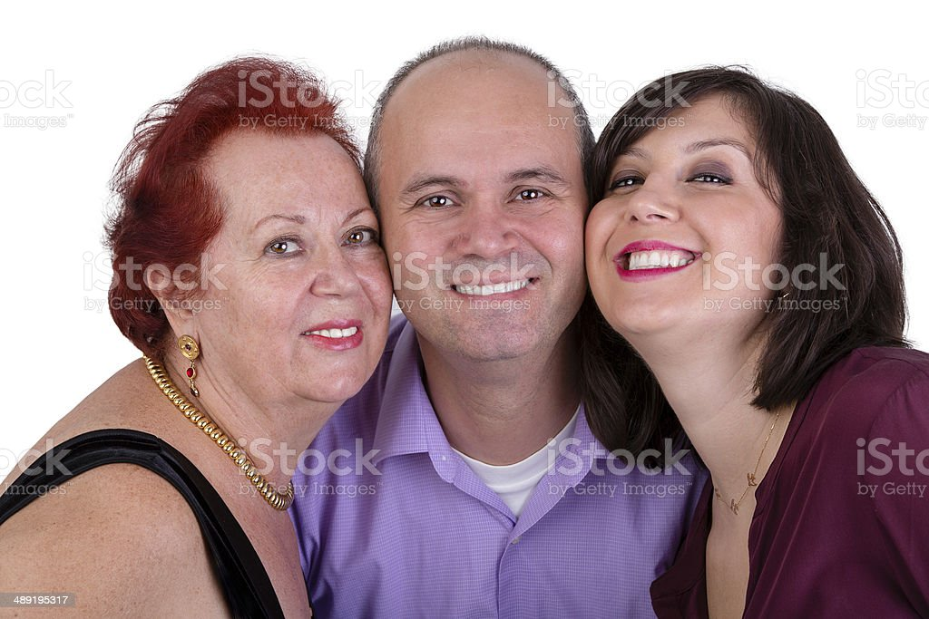 Happy Man with his Mother and Sister Together Trio Portrait stock photo