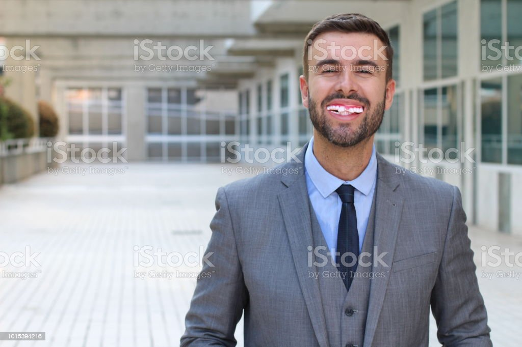 Happy man with horrible teeth stock photo