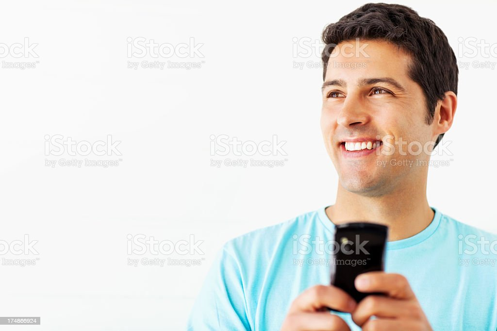 Happy Man With Smart Phone royalty-free stock photo
