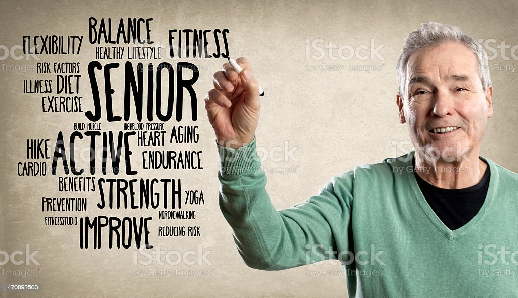 Happy Man, Writing with a Marker - Fitness Word Clou stock photo