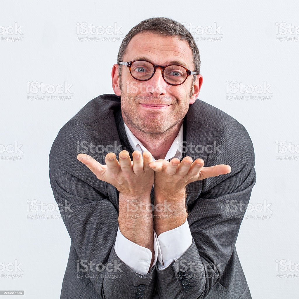 happy manager begging or offering something for kindness or generosity stock photo