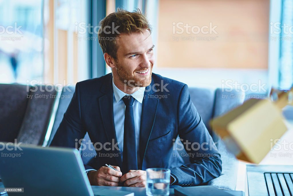 Happy manager stock photo