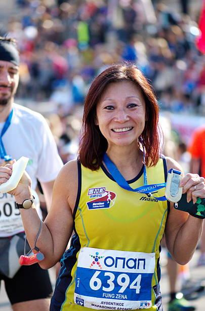 Happy Marathon Finisher stock photo