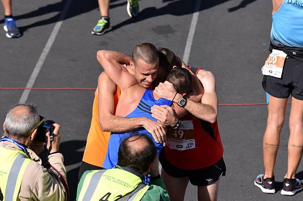 Happy Marathon Finishers stock photo