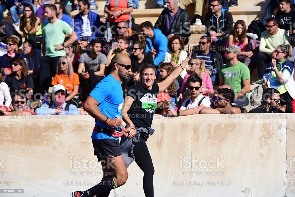 Happy Marathon Runners stock photo