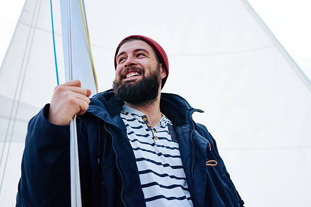 happy mariner unter sail - seemann thema stock-fotos und bilder