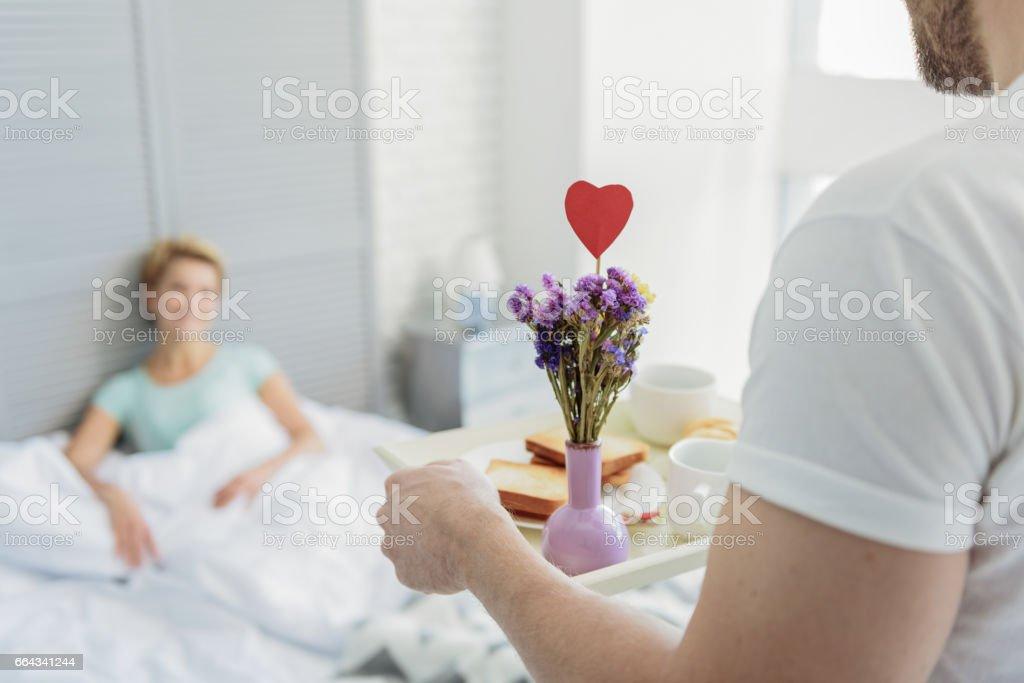 Happy married couple enjoying honeymoon stock photo