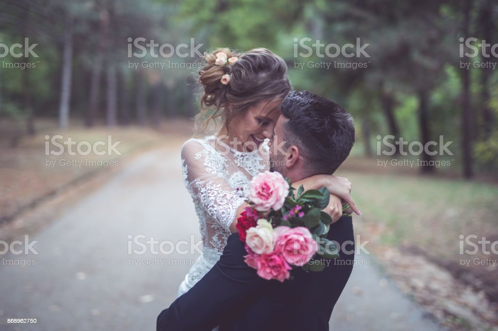 happy married couple stock photo