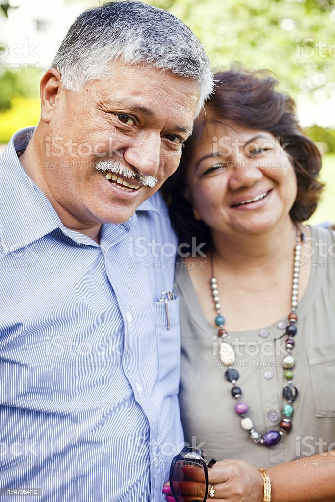 Happy Mature Asian Indian Active Couple Outdoor Portrait royalty-free stock photo