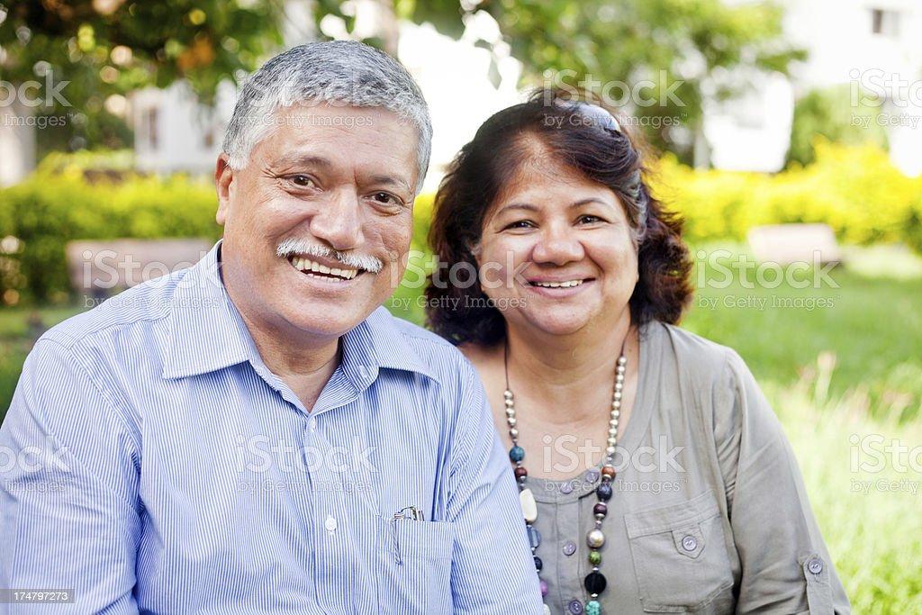 Happy Mature Asian Indian Couple Outdoor Portrait stock photo