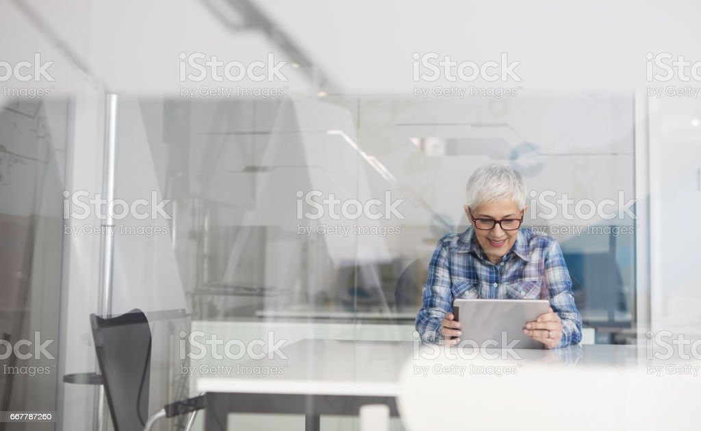 Happy mature businesswoman using digital tablet in her office. stock photo