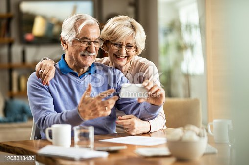 Happy senior couple having fun while making video call over mobile phone at home.