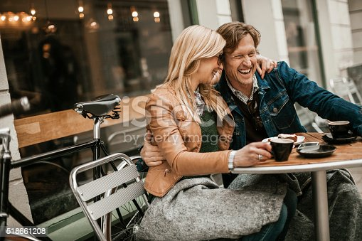 istock Happy mature couple in cafe 518661208