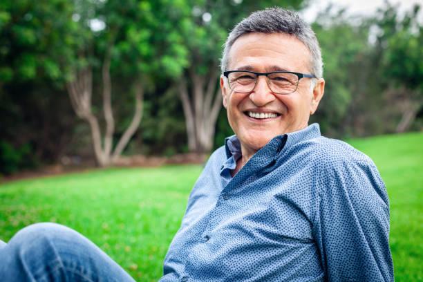 Happy mature male man smiling stock photo