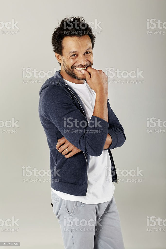 Happy mature man in casuals stock photo