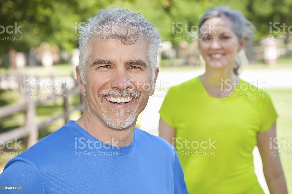 Happy Mature Man In Front of Partner Looking On royalty-free stock photo