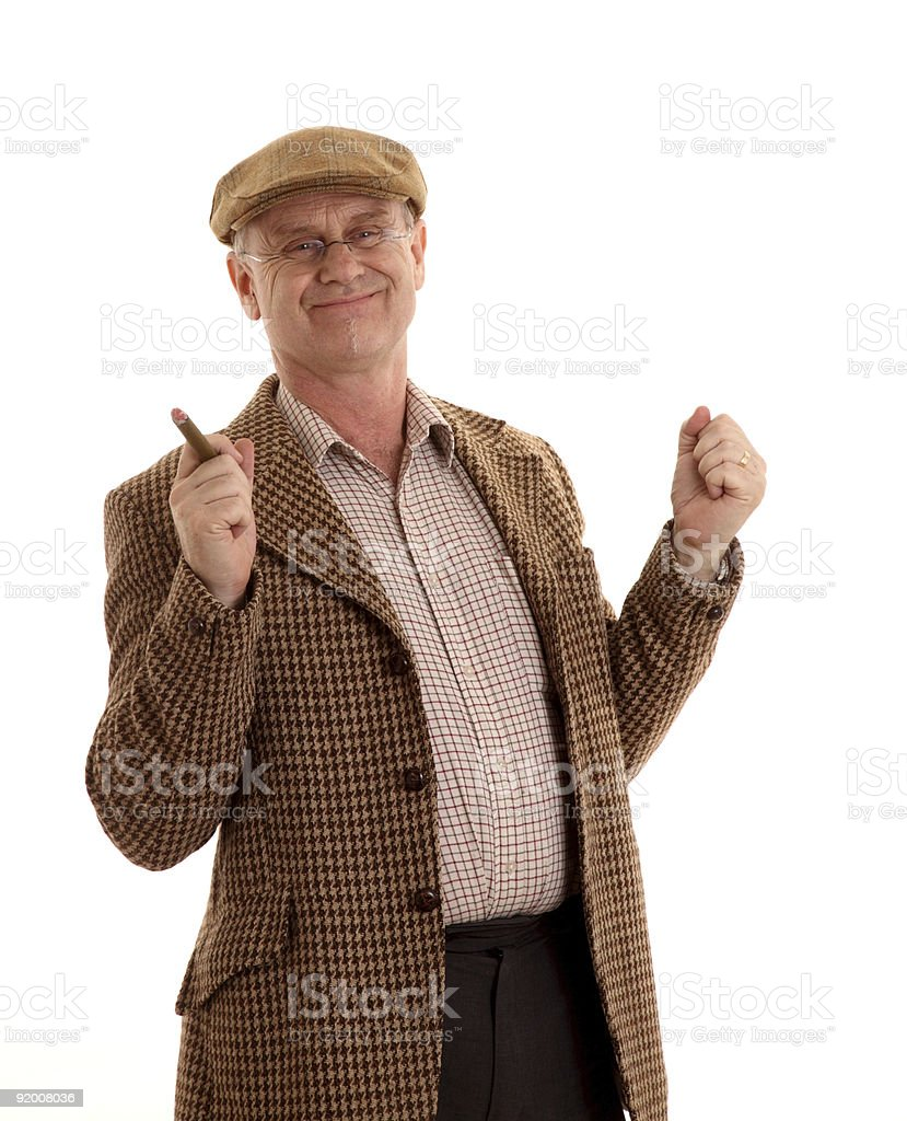 Happy mature man in tweeds stock photo