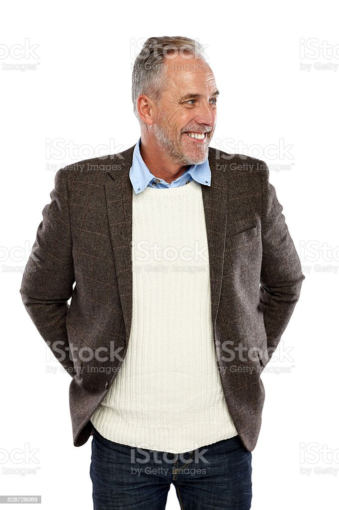 Happy mature man looking away at copyspace on white stock photo