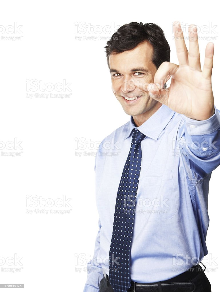 Happy mature man showing ok sign royalty-free stock photo