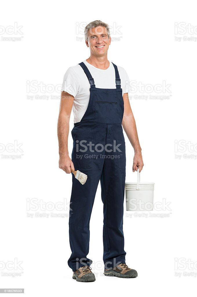 Happy Mature Painter stock photo