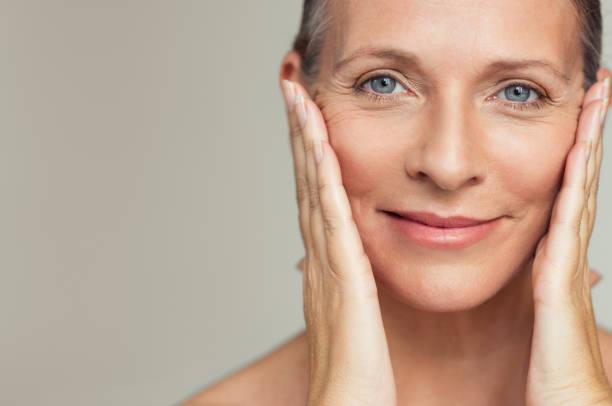 Glücklich Reife Frau Alterungsprozess – Foto