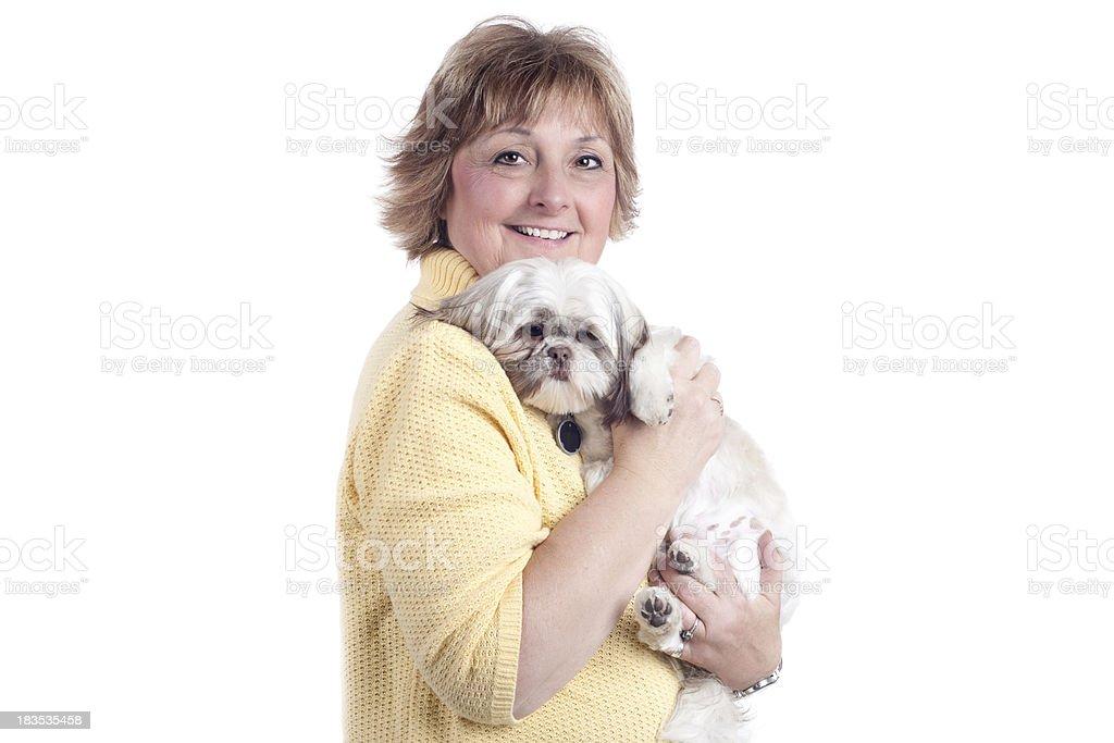 Glückliche Ältere Frau mit Haustier Hund – Foto