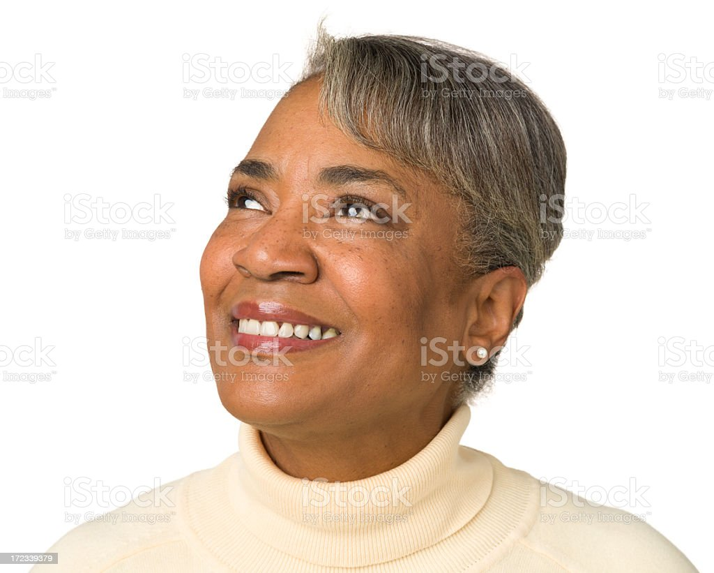 Happy Mature Woman Looking Away stock photo