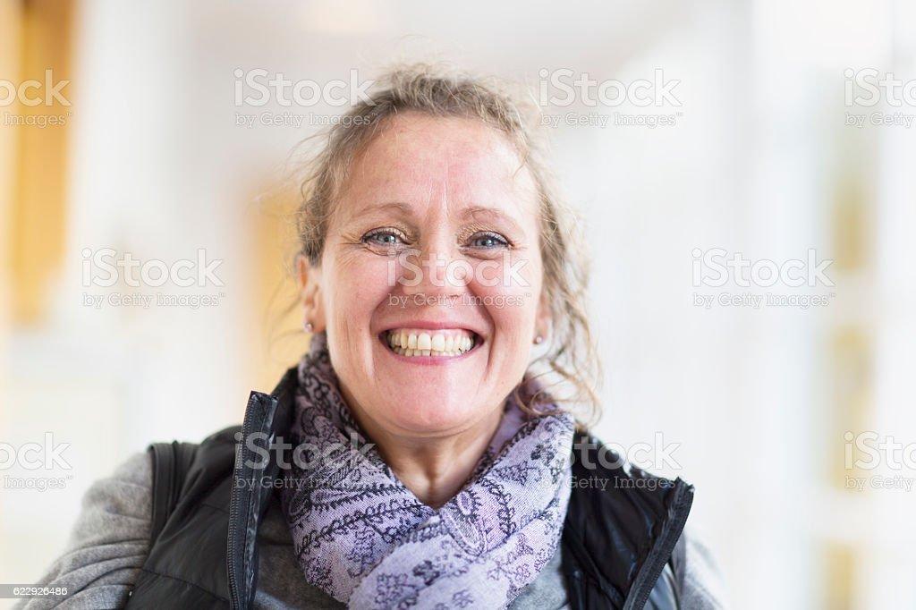 happy mature woman portrait stock photo