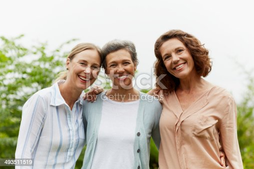 Portrait of happy mature women standing together in park