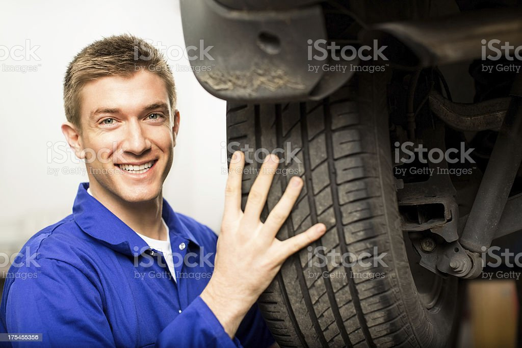 Happy Mechanic Changing Tyre royalty-free stock photo