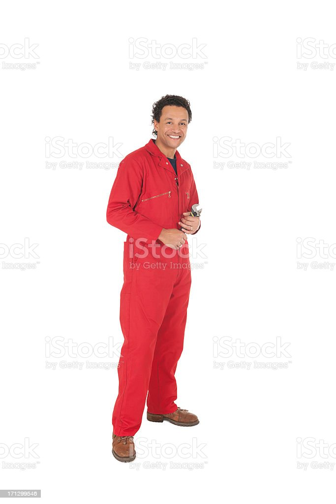 Happy Mechanic In Red Overalls - Isolated. stock photo