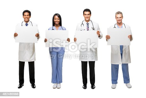 istock Happy medical professional holding blank signs 482485566