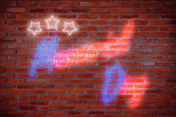 happy memorial day greeting card, national american holiday. memorial day background with red and blue neon night light letters and star on brick wall background in retro style. - memorial day weekend stock pictures, royalty-free photos & images