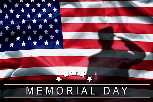 istock Happy Memorial Day greeting card, National american holiday. Memorial day background remember and honor , shadow of soldier on american flag with word Memorial day. 695828674