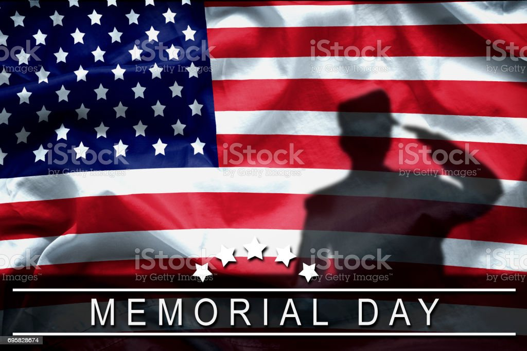 Happy Memorial Day greeting card, National american holiday. Memorial day background remember and honor , shadow of soldier on american flag with word Memorial day. stock photo