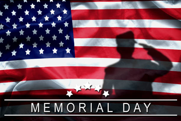 happy memorial day greeting card, national american holiday. memorial day background remember and honor , shadow of soldier on american flag with word memorial day. - happy 4th of july zdjęcia i obrazy z banku zdjęć